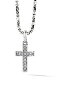 David Yurman The Pavé Collection Cross Diamond & Sterling Silver Enhancer Pendant
