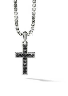 David Yurman The Pavé Collection Sterling Silver & Pavé Black Diamond Cross Enhancer Pendant