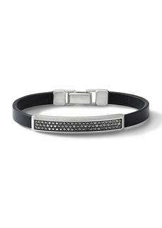David Yurman The Pavé Collection Sterling Silver, Leather & Pavé Black Diamond ID Bracelet