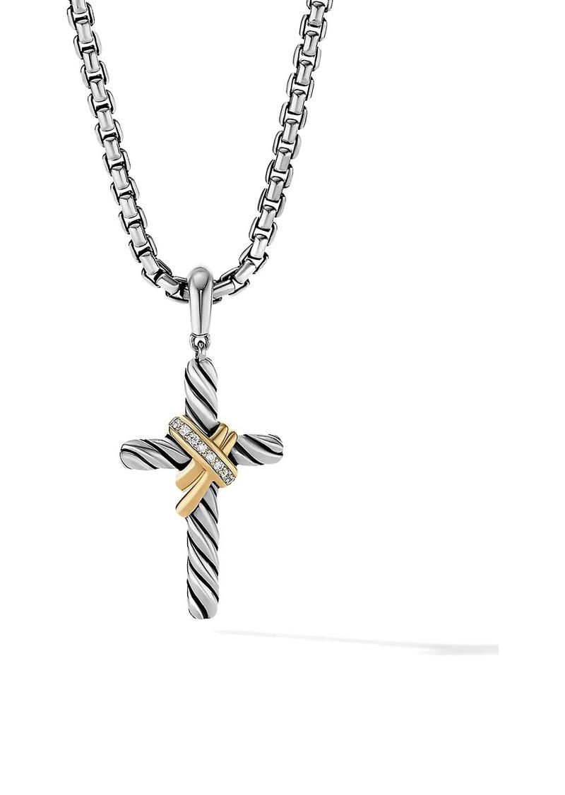 David Yurman X Cross Pendant With 18K Yellow Gold & Pavé Diamonds
