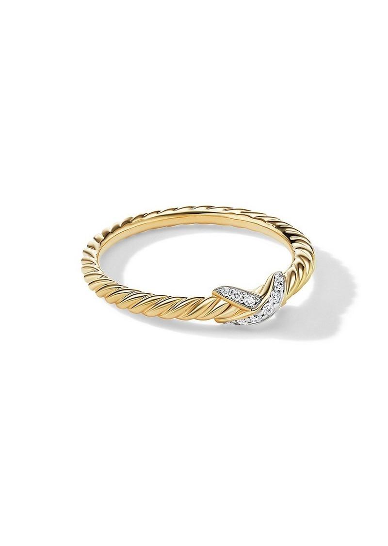 David Yurman X Petite 18K Gold & Pavé Diamond Ring