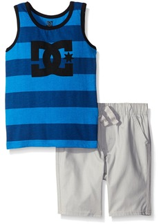 DC Apparel Little Boys 2 Piece Jersey Tank Top With Poplin Plaid Woven Short Set  6