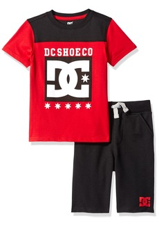 DC Apparel Little Boys' Toddler 2 Piece Jersey Logo Tee with French Terry Short Set