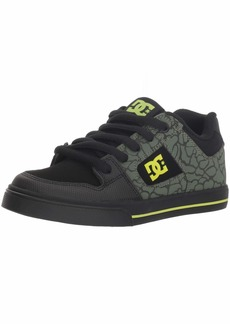 DC Boys' Pure SE Skate Shoe Black/Soft Lime  M US Little Kid