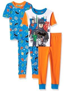 DC Comics Boys' Big Justice League 4Pc PJ incl. 2Sets Long SLV & Pant BLUORG