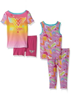 DC Comics Big Girls' DC Super Heroes-Wonder Woman Cotton 4 Pc Pajama Set