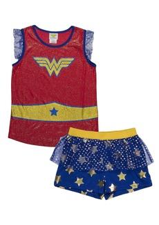 DC Comics Girls' Big Wonder Woman Logo 2-Piece Pajama Short Set BLURED 6/6X