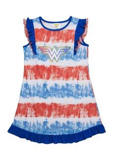 DC Comics Girls' Big Wonder Woman Logo Short Sleeve Pajama Dress BLURED 10/12