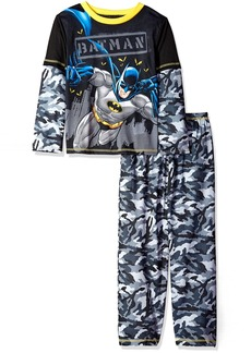 DC Comics Boys' Big Superhero Long Sleeve 2 Piece Jersey Pajama Set Batman camo Small/6-7