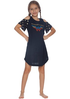 DC Comics Girls' Big Wonder Woman Cold Shoulder Glitter Nightgown  7/8