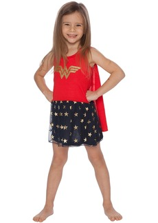 DC Comics Girls' Big Wonder Woman Tank Nightgown with Cape  10/12