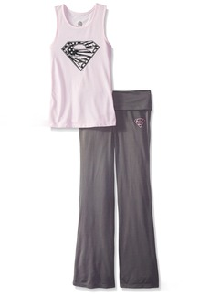 DC Comics Girls 'Superman Supergirl Americana' Yoga Pajama Set  7/8