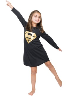 DC Comics Girls 'Superman Supergirl Gold Foil' Pajama Gown  4/5
