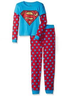DC Comics Girls 'Superman Supergirl Logo' Waffler Doubler Thermal Cotton Pajama Set