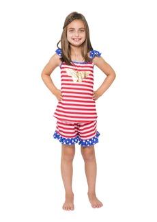 DC Comics Girls' Toddler Wonder Woman USA Ruffle Pajama Short Set