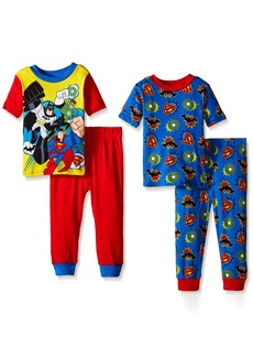 DC Comics Little Boys' Toddler Comic-Squad 4-Piece Pajama Set