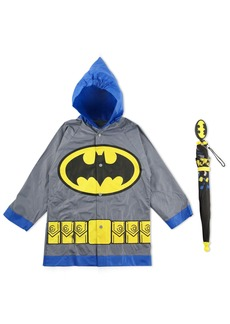 DC Comics Little Boys Batman or Superman Slicker and Umbrella Rainwear Set