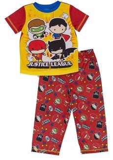 DC Comics Boys Justice League Chibis 2-Pc Toddler Pajama Set red