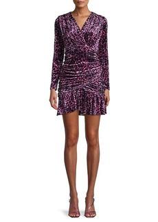 Delfi Collective Beverly Leopard Velvet Mini Dress