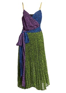 Delfi Collective Evan Colorblocked Leopard-Print Chiffon Dress