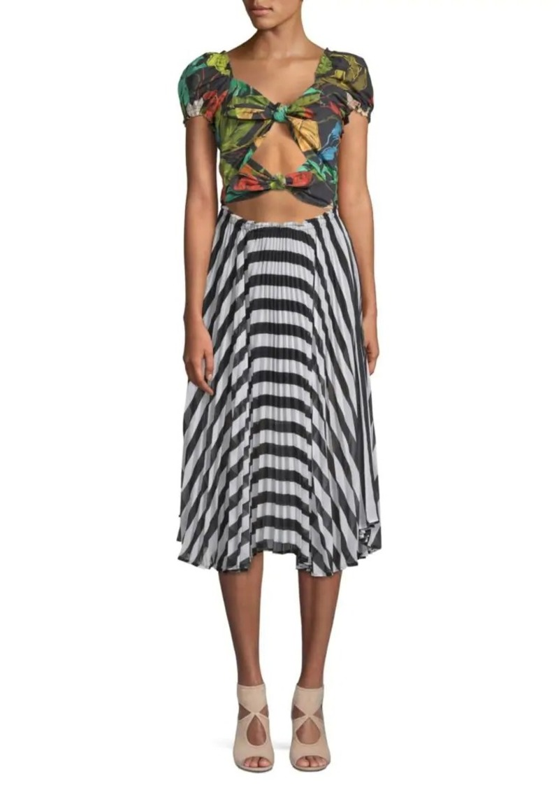 Delfi Collective Katy Cut Out Tie Front Midi Dress