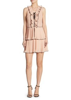 Delfi Collective Kiki Pleated Lace-Up Dress
