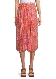 Delfi Collective Lilah Paisley Pleated Skirt