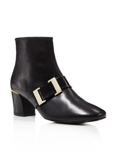 Delman Chill Mid Heel Buckle Booties