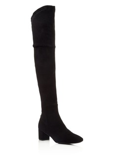 Delman Cindi Stretch Suede Over The Knee Mid Heel Boots