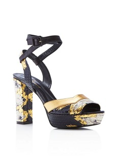 Delman Joni Snake Embossed Platform Sandals
