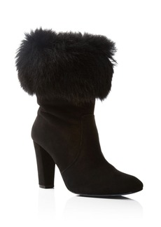 Delman Lexie Suede and Shearling Cuff High Heel Booties