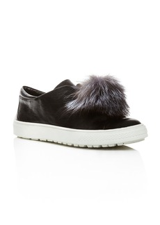 Delman Marli Leather and Marten Fur Pom Pom Sneakers