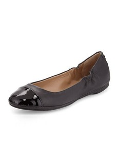 Delman Maya Patent Leather Cap-Toe Ballerina Flat