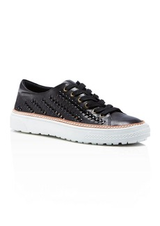 Delman Mela Perforated Platform Sneakers