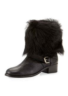 Delman Minka Fur-Cuff Moto Boot
