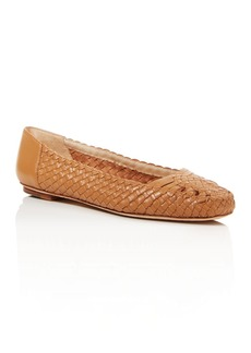Delman Nappa Basket Weave Flats