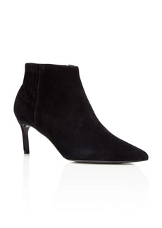 Delman Pointed Toe Mid Heel Booties