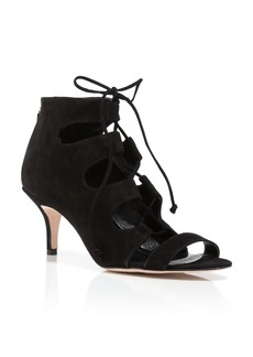 Delman Sandals - Tryst Suede Lace Up Mid Heel