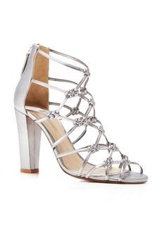 Delman Scandal Metallic Knotted High Heel Sandals