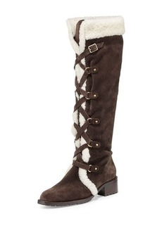 Delman Strut Lace-Up Suede Boot