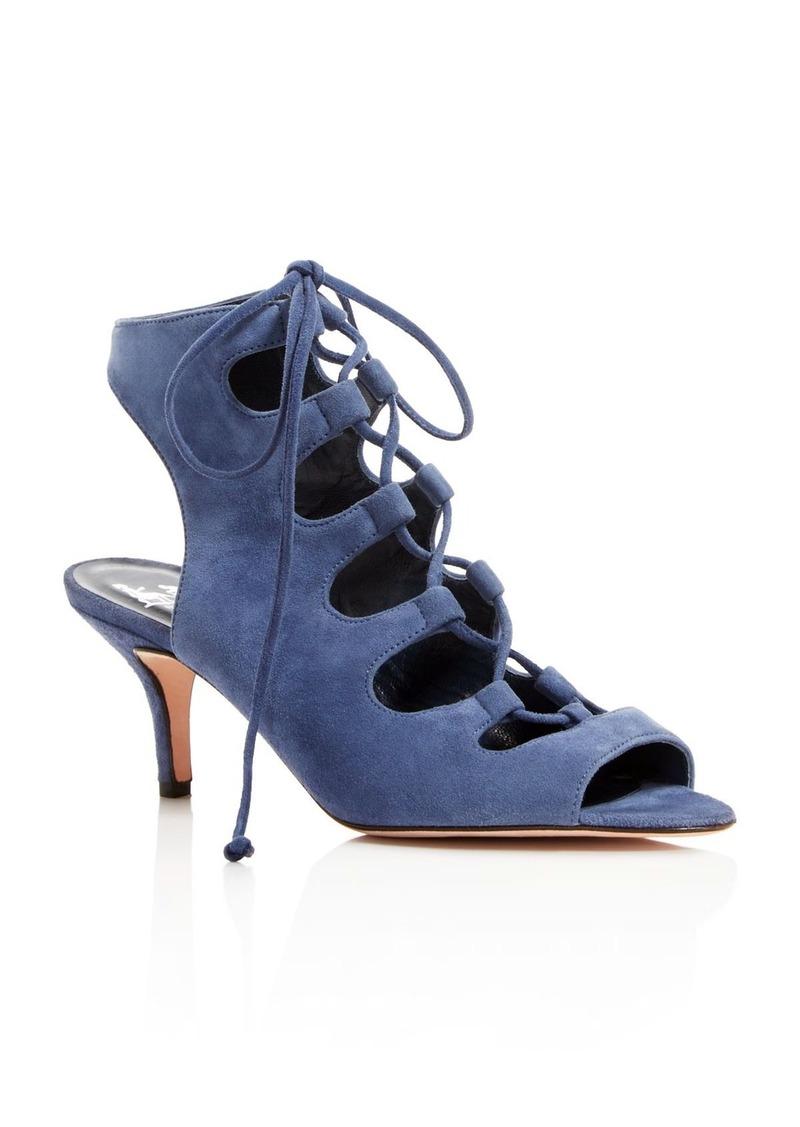 33c06a269c1 Delman Delman Tanna Suede Caged Lace Up Mid Heel Sandals