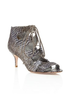 Delman Tryst Snake Embossed Lace Up Mid Heel Sandals
