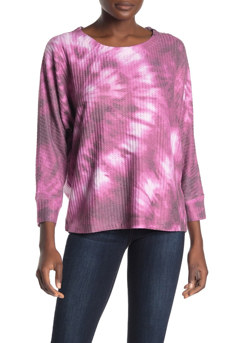 Democracy 3/4 Dolman Sleeve Scoop Neck Waffle Knit Top