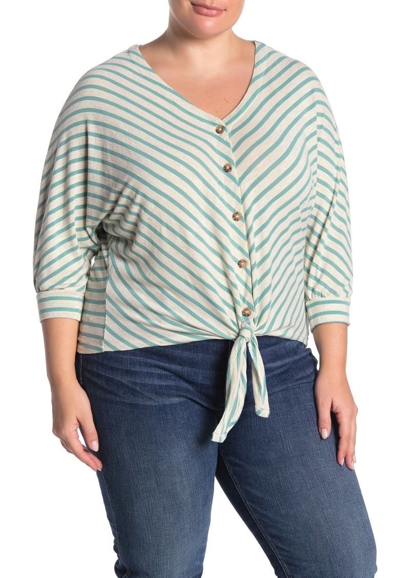 Democracy 3/4 Length Dolman Sleeve Tie Front Blouse (Plus Size)