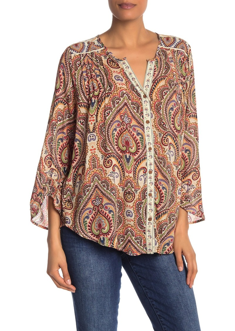 Democracy 3/4 Length Smocked Sleeve Printed Blouse