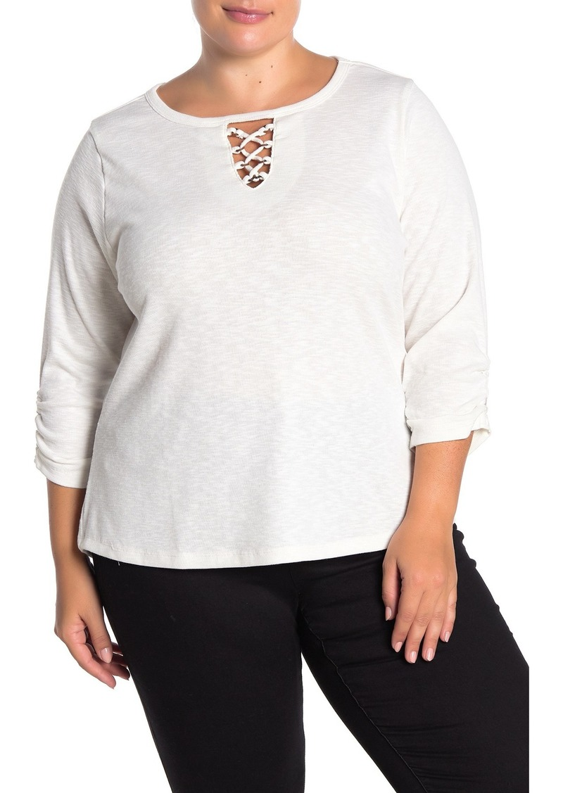 Democracy 3/4 Sleeve Lace-Up Keyhole Knit Top (Plus Size)