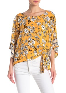 Democracy 3/4 Sleeve Tie Front Floral Top