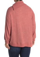 Democracy Asymmetrical Split Neck Knit Sweater (Plus Size)