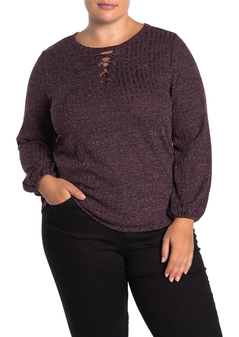 Democracy Bishop Sleeve Lace-Up Keyhole Top (Plus Size)