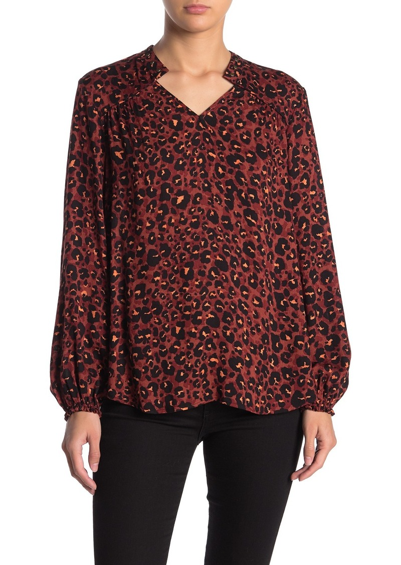 Democracy Blouson Sleeve Leopard Blouse